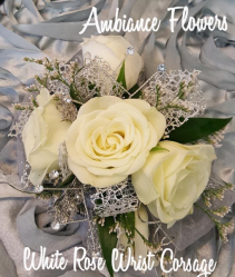 White Roses Wrist Corsage