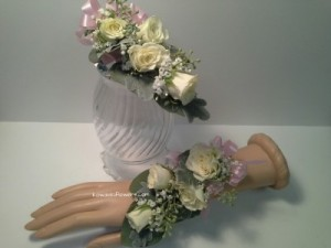 White Roses Wrist Corsages in Whitesboro, NY | KOWALSKI FLOWERS INC.