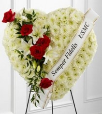 Solid heart with white and red flowers