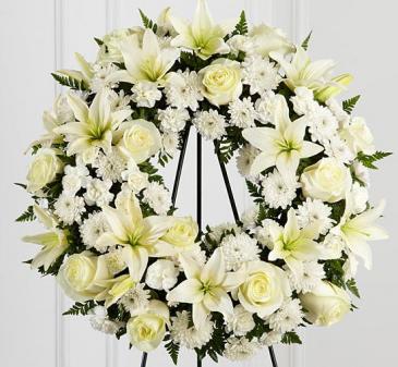 White round wreath standing sympathy arrangement in selma nc white round wreath standing sympathy arrangement mightylinksfo