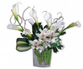 White Sands Calla Lily and Cymbidium Orchid Arrangement