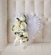 White Satin Heart  Casket Pillow Funeral