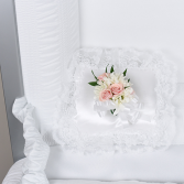 white satin pillow/ daisies & pink roses sympathy