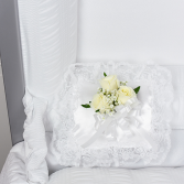 White satin pillow/ white roses sympathy