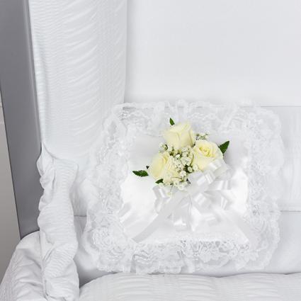 White satin pillow/ white roses sympathy