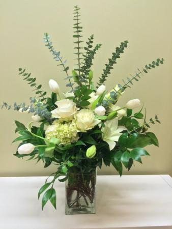White Satin Fresh Vase Arrangement