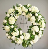 White Serenity Classic Wreath Standing Wreath