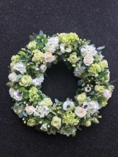 White Serenity Open Wreath Standing Spray
