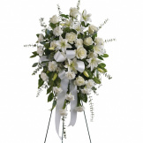 White Serenity Standing Spray Funeral