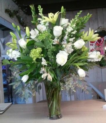white serenity vase sympathy vase arrangement