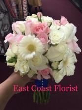 White Shy Pink Bride Bouquet