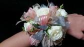 White, Silver & Coral Prom Corsage