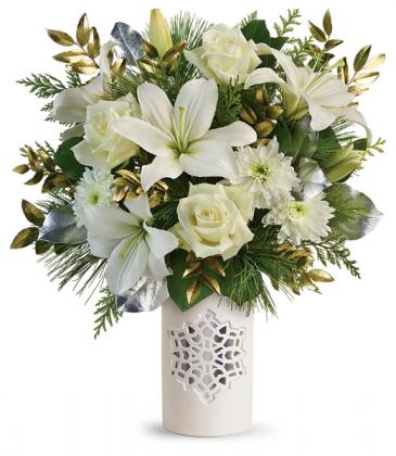 White Snowflake Bouquet All-Around Floral Arrangement