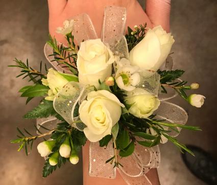 White Sparkle Prom Corsage