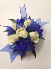 White Spray Rose and Delphinium Wrist Corsage