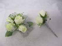White Spray Rose Corsage Prom