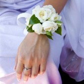 White Spray Rose Wrist Corsage with white sheer bow