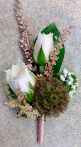 White Spray Rose & Scabiosa Boutonniere