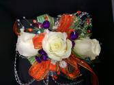 WHITE SPRAY ROSE WITH COLORFUL ACCENTS CORSAGE