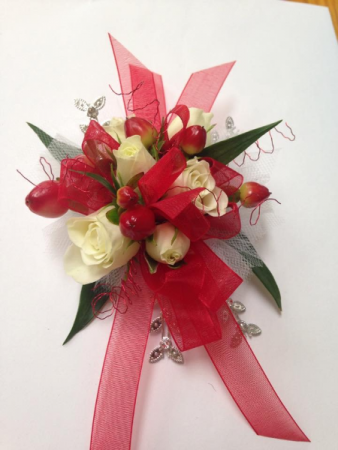 White Spray Rose with Red Hypericum Berries