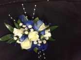 WHITE SPRAY ROSE WITH ROYAL BLUE ACCENTS CORSAGE