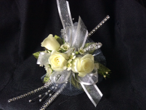 WHITE SPRAY ROSE WITH SILVER ACCENTS CORSAGE