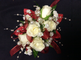 WHITE SPRAY ROSE WITH RED ACCENTS CORSAGE