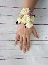 WHITE SPRAY ROSE WRIST CORSAGE