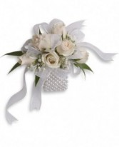 White Spray Rose Wristlet Corsage