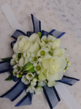 White Spray Roses (Choose color) Blue Ribbon Corsage