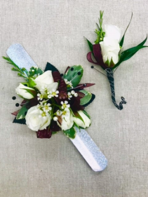 White spray roses corsage 1
