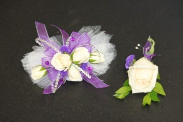 White Spray Roses Purple & Silver Accents