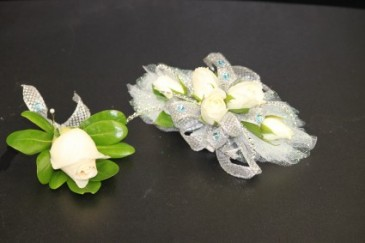 White Spray Roses Silver & Light Blue Accents
