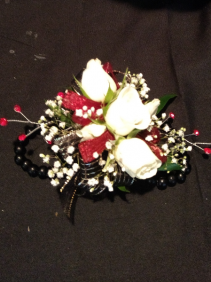 White Spray roses with black pearl bracelet