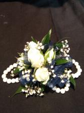 White Spray roses with pearl bracelet