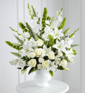 White Spray Urn Funeral