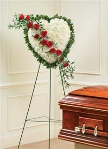 White Standing Heart With Red Rose Break Funeral