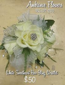 White Sweetheart Rose Bling Wristlet
