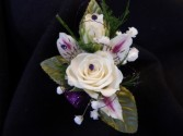 White Sweetheart Rose with Alstromeria Boutonniere