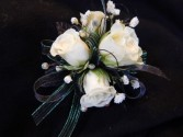 White Sweetheart Roses with Black Ribbon Corsage