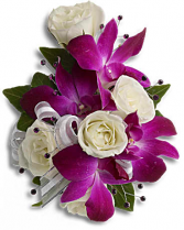 White sweetheart roses with Dendrobium orchid's