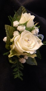 White Sweetheart Roses with Light Blue Accent Boutonniere