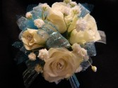 White Sweetheart Roses with Light Blue Accent Corsage