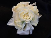 White Sweetheart Roses with Satin Corsage