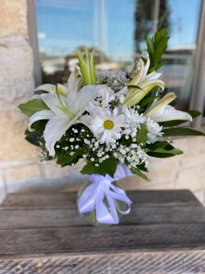 White Sympathy Arrangement  in Godley, TX | Roselane Flowers & Gifts