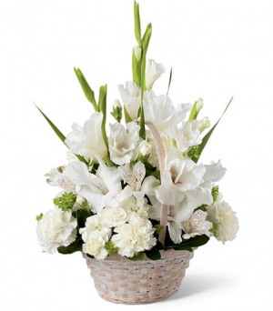White Sympathy Basket  in North Bay, ON | ROSE BOWL FLORIST