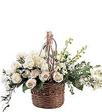 White Sympathy Basket Funeral Basket