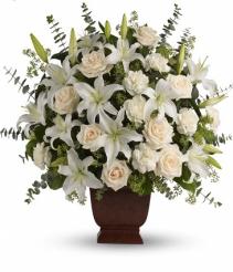 White Sympathy Floral Design Vase Arrangement