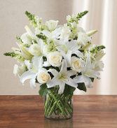 White Sympathy Floral Vase Fresh Flower Arrangement