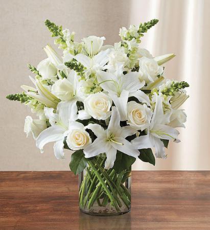 White Sympathy Floral Vase Fresh Flower Arrangement In Uvalde Tx The Flower Patch